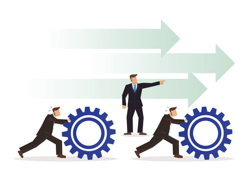 Businessman orders his employee to push gears, teamwork or leadership concept.