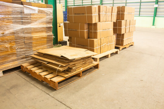 Old paper boxes on pallet for sale or reuse