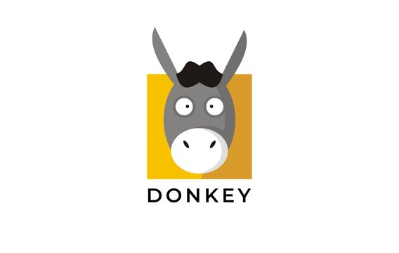 funny donkey face illustration logo