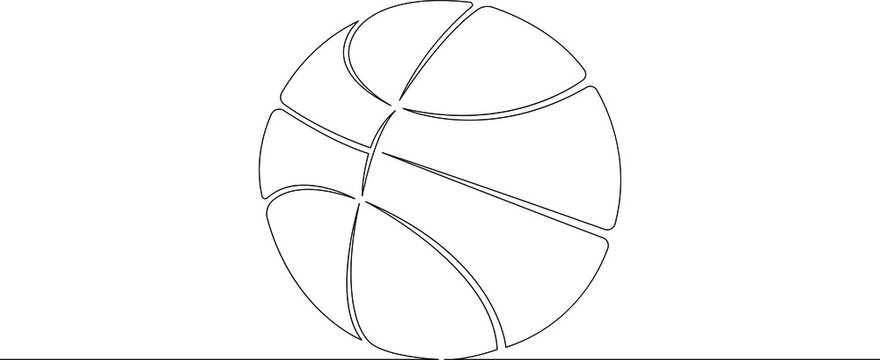 Basketball ball. Game sports equipment. One continuous drawing line  logo single hand drawn art doodle isolated minimal illustration.