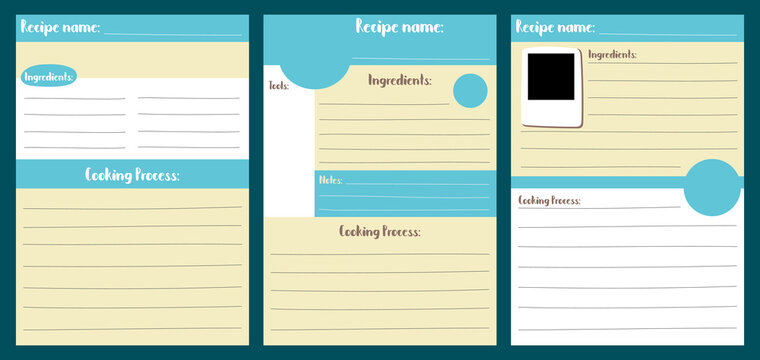 Recipe card template vector illustration in A5 size vertical format. Recipe pad for bujo. Stay home activity hobby.