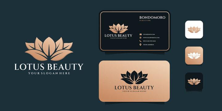 Lotus beauty flower salon logo design and business card