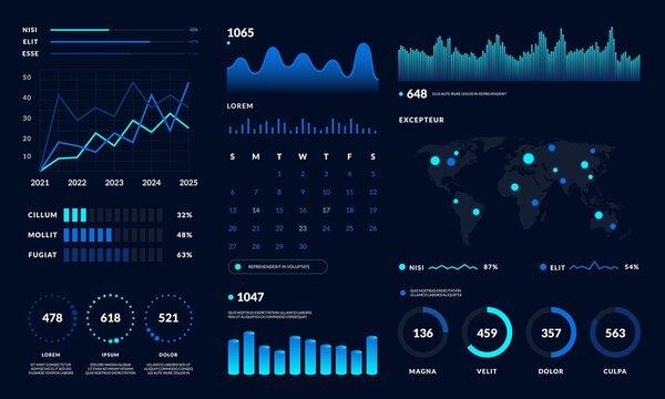 Dashboard UI. Data HUD diagram design, graph and chart modern graphic interface. Vector futuristic dashboard