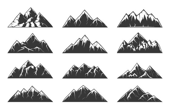 Mountain chain snowy peaks, rocky hills end volcanoes. High mountains with sharp tops, gorges and steep slopes, northern terrain nature landscape element engraved vector set