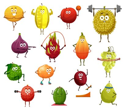 Exotic fruit cartoon characters doing sport exercises. Vector fresh berry food, apple, orange, papaya and grapes, durian, fig, peach and feijoa, carambola and lychee, gym and fitness workout design