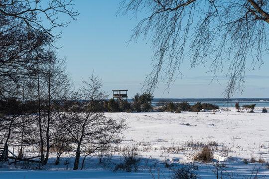 Bird watching tower in a winter landscape