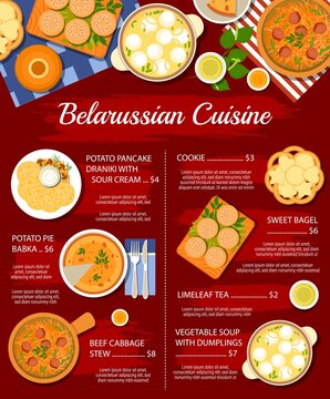 Belarussian cuisine food, restaurant menu dishes, vector Belarusian traditional dinner and lunch. Belarus cuisine national meals and dishes potato pancakes draniki, soup with dumplings and babka pie