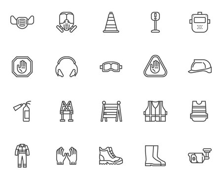 Safety workwear line icons set. Mandatory linear style symbols collection, outline signs pack. Protective clothing vector graphics. Set includes icons as safety helmet, work shoes, face mask, coverall