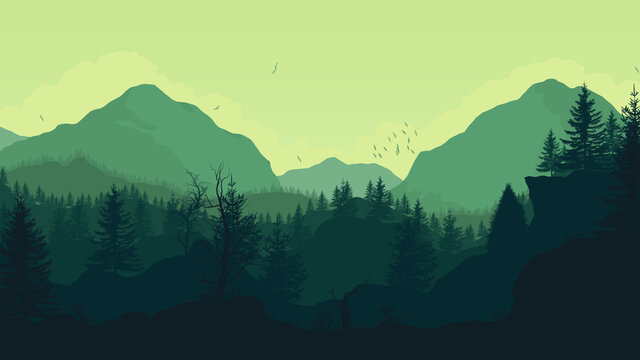 Mountain landscape illustration. Forest at the foot of the mountains. Nature illustration in shades of green