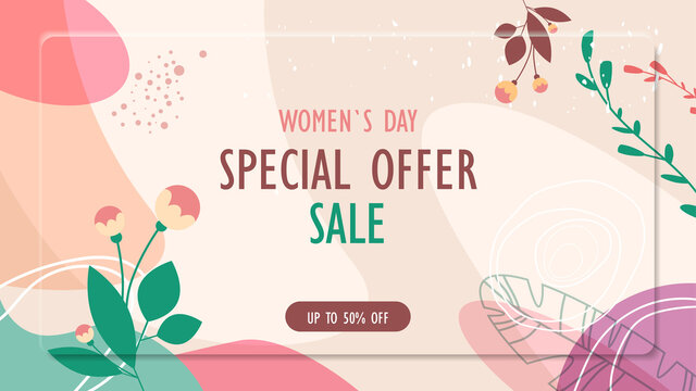 womens day 8 march holiday celebration vibrant sale banner flyer or greeting card with decorative leaves and hand drawn textures horizontal vector illustration