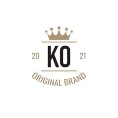 Obraz Initial Letter KO King Logo Design Template. Vintage king template logo - fototapety do salonu