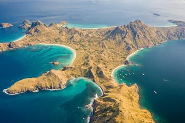 Aerial view of Padar Island landscape with blue ocean water, East Nusa Tenggara, Indonesia. Wall mural