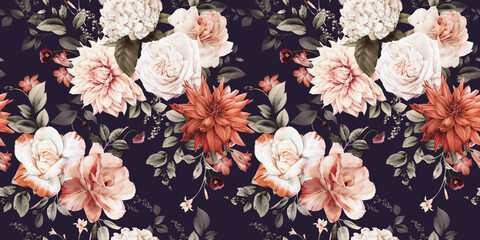 Obraz Seamless floral pattern with flowers on summer background, watercolor illustration. Template design for textiles, interior, clothes, wallpaper - fototapety do salonu