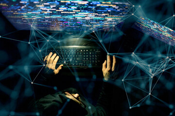 hacker coding at night cybersecurity concept - fototapety na wymiar