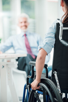 Disabled woman having a business meeting