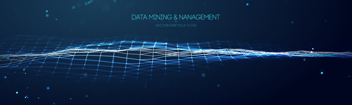 Data mining and management. Flow banner data transfer science illustration. Finance concept business software blue technology background. Digital information network connection. Vector illustration