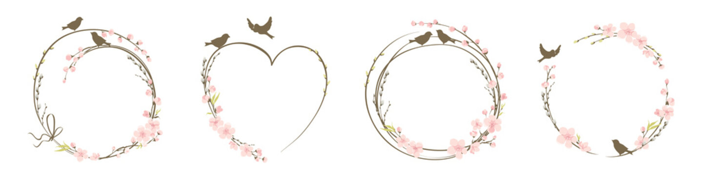 Frames for Wedding invitation. Willow and Cherry blossom. Set vector design elements on the theme of flowering and spring.