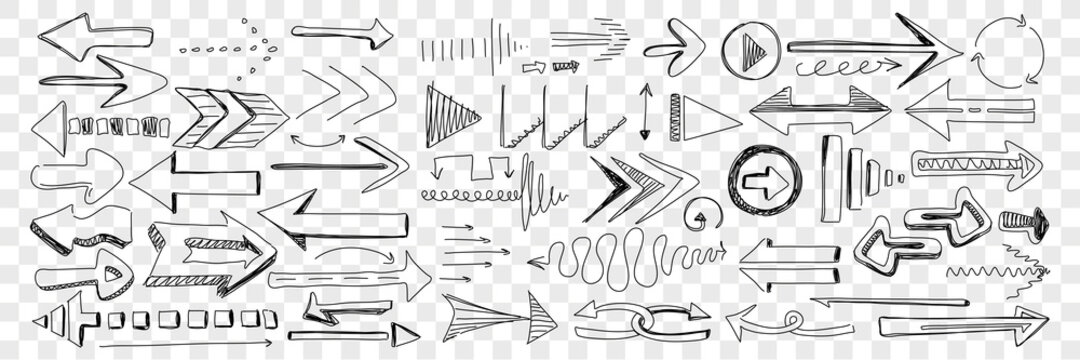 Arrows of different shapes and directions doodle set. Collection of hand drawn arrows left right navigating and attracting attention for orientation help isolated on transparent background
