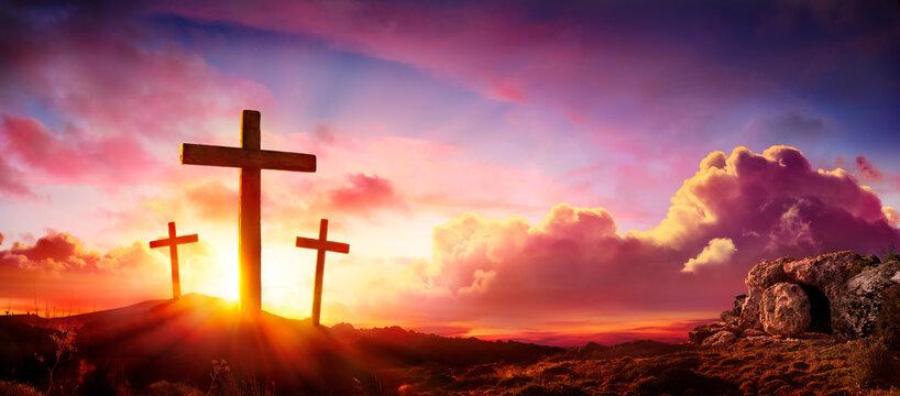 Crucifixion And Resurrection of Jesus at Sunrise