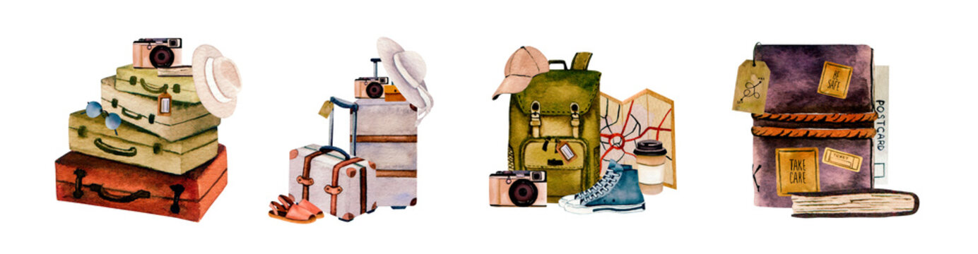 Watercolor travel collection illustration in vintage style in warm colors of different travelling ways and travel stuff  for article illustrative material or postcard and poster