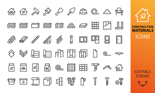 Construction materials isolated icon set. Set of building tools, blocks, floor and roof materials, door, window, cement bag, tile adhesive, house siding, timber, drywall, metal profile vector icons