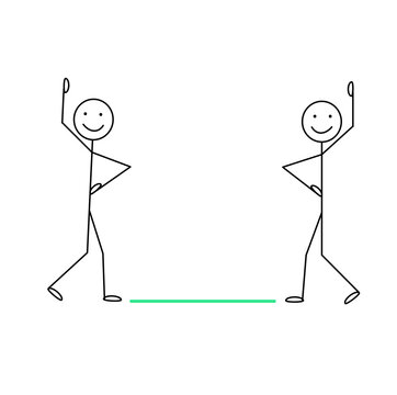 stick man the social distance between people is 6 feet, be safe