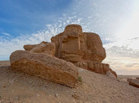 Four Mountains near Hofuf in Saudi Arabia at sunset