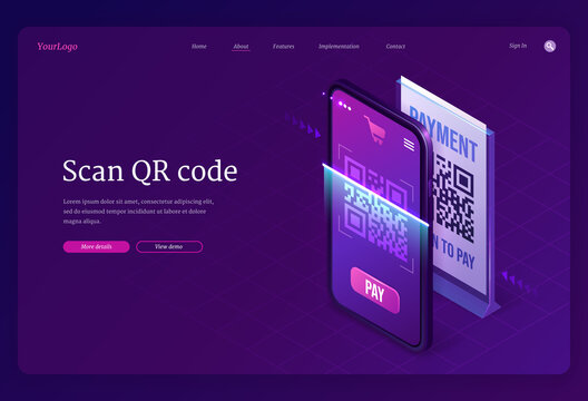 Scan Qr code verification service isometric landing page, machine-readable barcode on smartphone screen. Mobile app for internet business, information, cashless online payment 3d vector web banner