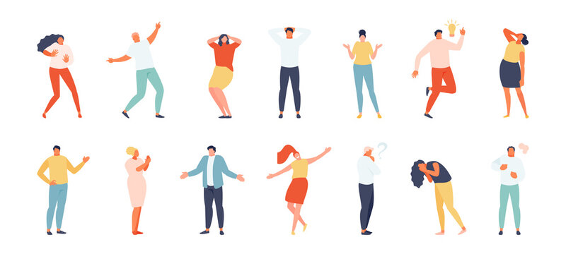 People showing various emotions and gestures in full-length isolated on a white background. Vector set