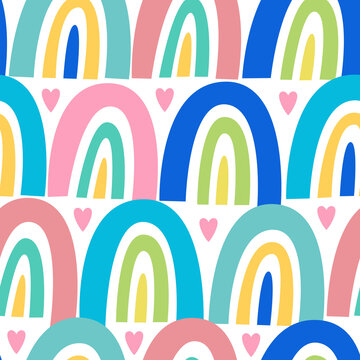Vector seamless bright childish pattern with rainbows and hearts