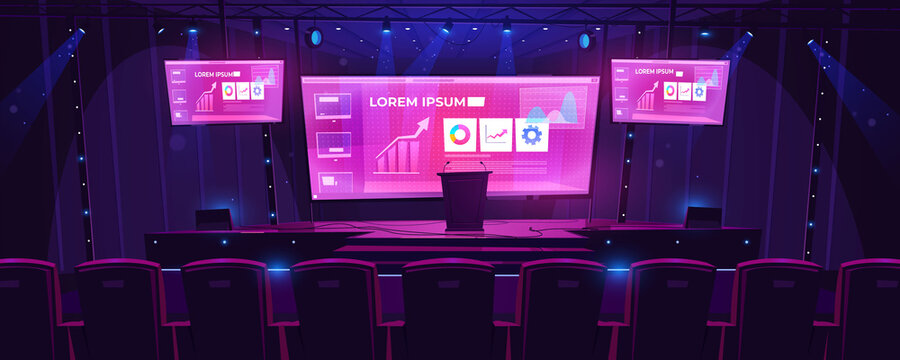 Stage with tribune, screens on background and spotlights. Vector cartoon illustration of empty scene for presentation, conference and public event with pulpit and seats for audience