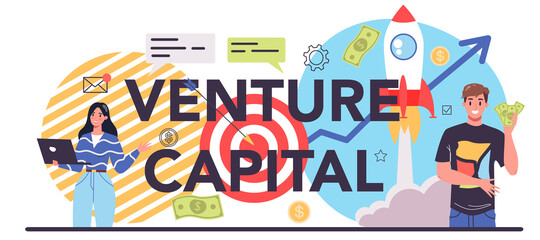 Fototapeta Venture capital typographic header. Investors financing startup companies