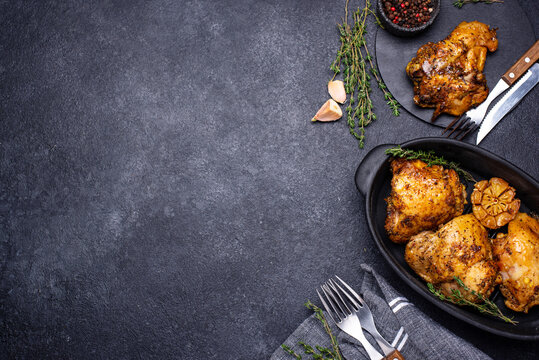 Grilled chicken thighs with garlic