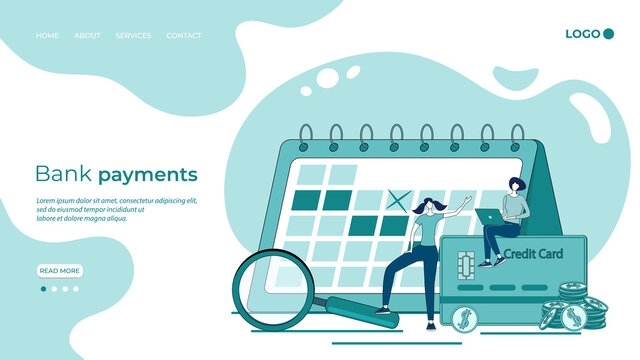 The period of bank payments.Payment of bills,cash investments, and financial payments.People are Counting the timing of your Bank statements.Flat vector illustration.The landing page template.