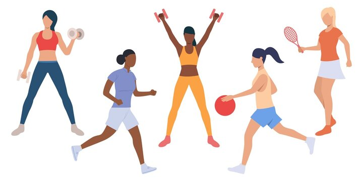 Set of active ladies at sport training