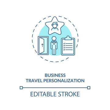 Business travel personalization concept icon. Business trip during covid pandemic idea thin line illustration. Tourism service. Vector isolated outline RGB color drawing. Editable stroke