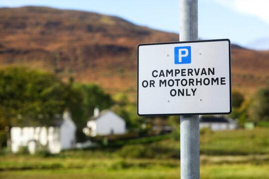 Motorhome and campervan only parking sign