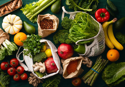 Shopping or delivery of fresh and healthy vegetarian food concept