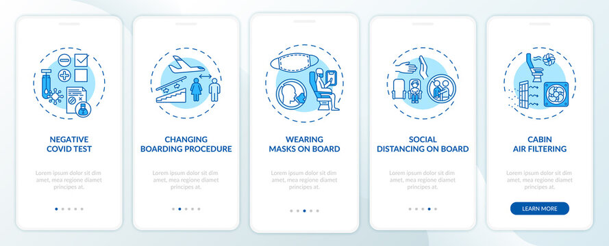 Lockdown travel rules onboarding mobile app page screen with concepts. Service optimization walkthrough 5 steps graphic instructions. UI vector template with RGB color illustrations