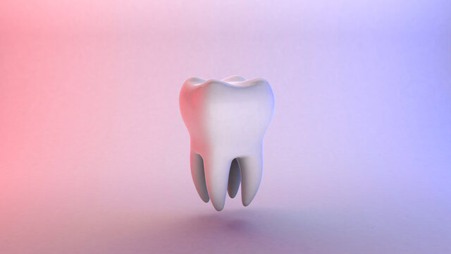 White tooth on a red and blue background. 3d render