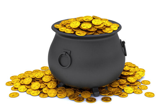 St. Patrick's Day. Treasure pot full of gold coins. isolated on white background. 3d render.