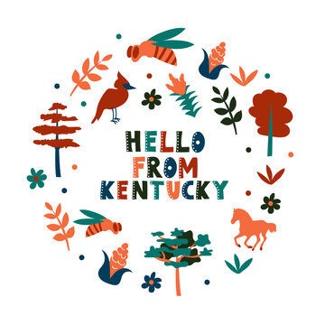 USA collection. Hello from Kentucky theme. State Symbols round shape card