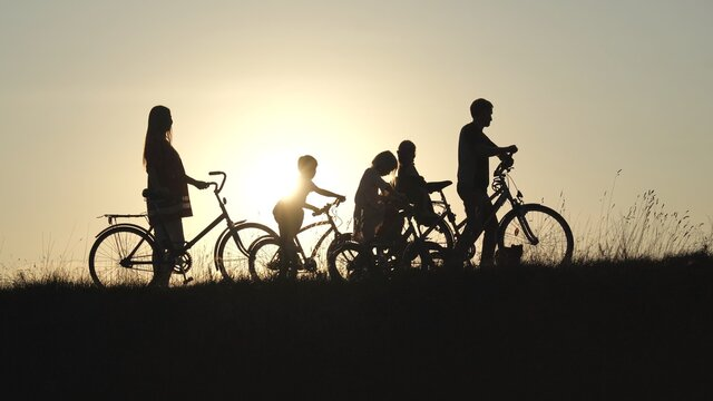 Silhouettes of a large large family with bicycles and dogs at sunset.