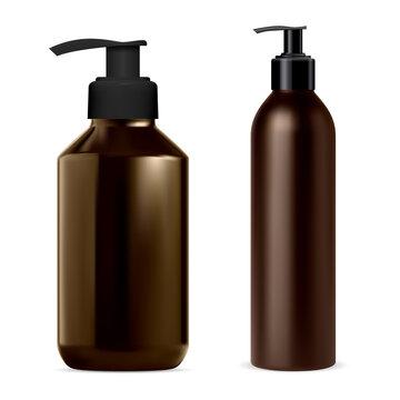 Pump dispenser bottle. Soap, shampoo bottle mockup