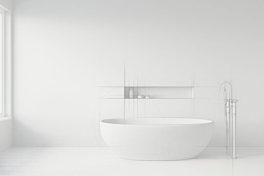 Sketch of white bathtub standing with freestanding bath mixer in a modern bathroom. Freehand drawing.