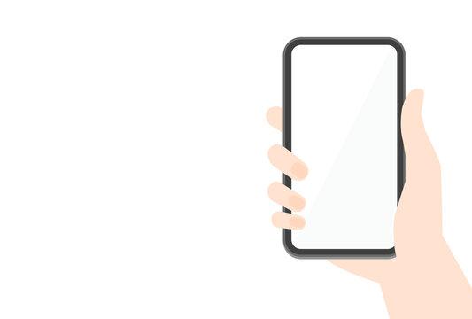 スマートフォンのモックアップ素材:黒いスマホを持つ人の手と白いコピースペース付きの画面