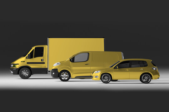 Mockup view of a Series of Vehicles - 3d rendering