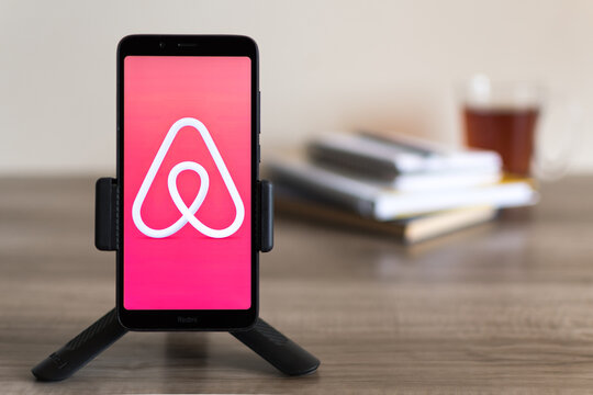 Beer Sheva, Israel - February 11, 2021: Airbnb Mobile Application on the smart phone screen.