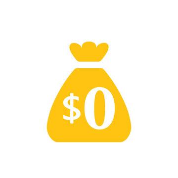Zero dollar money bag icon. Clipart image isolated on white background