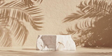 Obraz Brown cosmetic beauty product rock podium with palm shadows. Minimal mockup background for product and cosmetic presentation. 3d rendering illustration. - fototapety do salonu